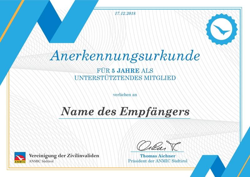 Anerkennungsurkunde Vereinigung der Zivilinvaliden (ANMIC Südtirol)